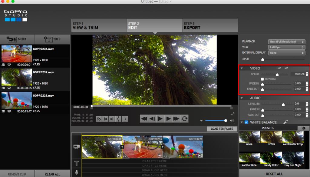 ビデオ設定画面の写真