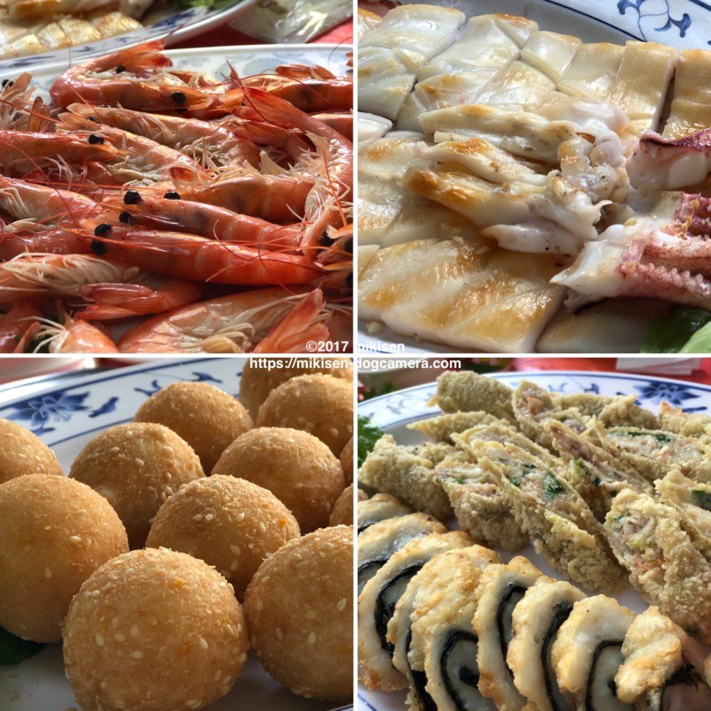金聖春活海産のエビなど料理4品